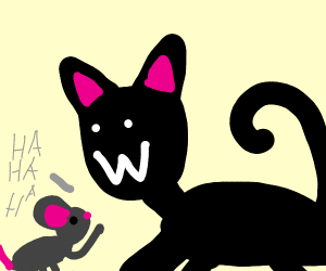 """Cat doing the """":W"""" Face but the W is upwards"""