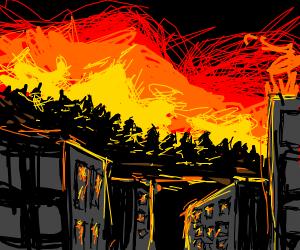 Big fire reach the city