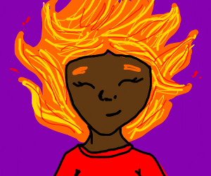 Dark girl with chinlength fiery hair & antena