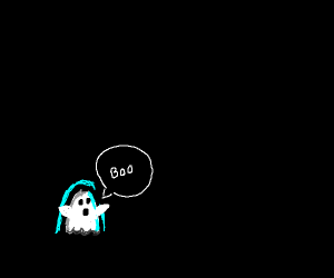 Little ghost trying to be scary