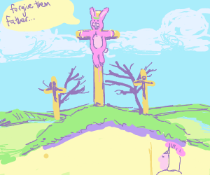 Easter bunny gets crucified