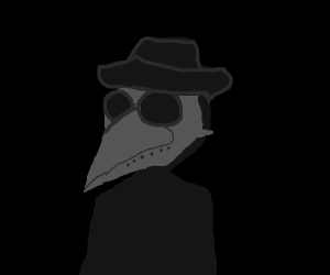 guy with hat and plague doctor mask (A+)