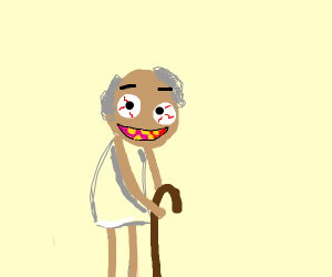 Creepy old man with yellow theet