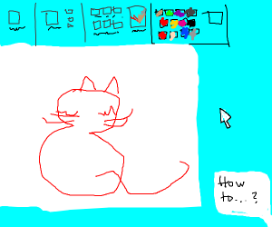 How to draw a cat in MS paint (Look it up)
