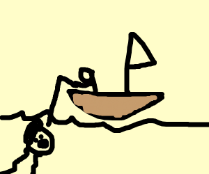 stick figure fishing for ben shapiro in sea
