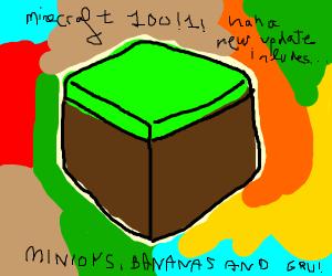 minecraft grass block w/ abstract background