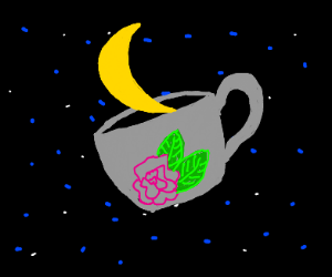 A waxing cresent moon in a tea cup, in space