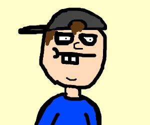 Man with buck teeth and sideways cap