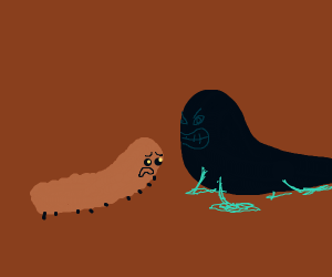 Brown caterpillar and black slug