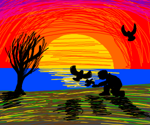 Silhouette of person feeding birds w/sunset