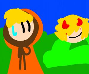 Blonde boy in orange chased by demon in bush