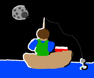 Man fishing in a boat at night