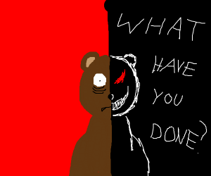 brown bear gets interrogated by his dark side