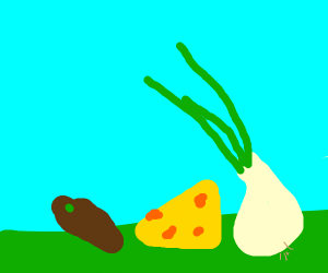potato,grass,some cheese and an onion