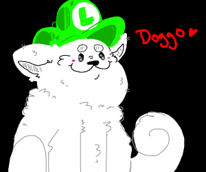 white dog wearing a luigi hat