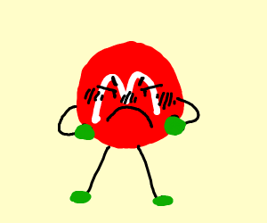 An angry red M&M