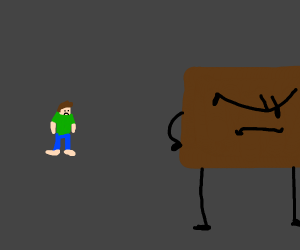 Brown square leaving his human friend