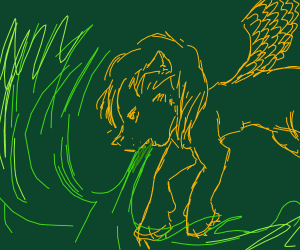 Winged lion breathes green fire.