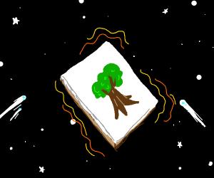 easel with tree painting floating in space