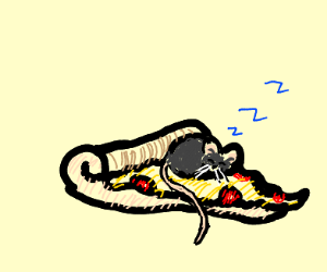 mouse sleeps on pizza slice