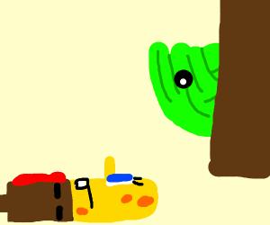 lettuce head sneaks up on a sponge