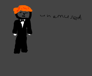 Unamused skinny red-haired guy in a suit
