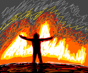 man standing in front of a burning house