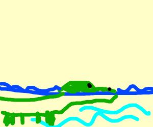 Crocodile crossing the Ocean