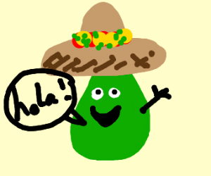 avocado in a sombrero saying hola