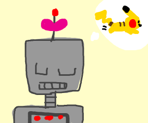 cute robot thinks about pikachu running