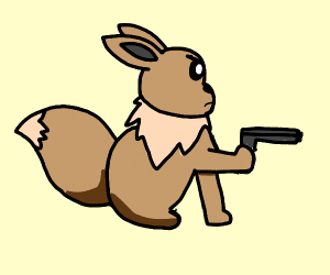 eevee has a gun and is not afraid to use it
