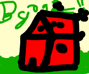 Green blob throwing green blob off of a house
