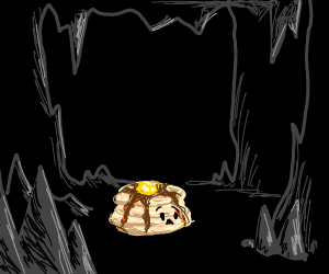 stack of pancakes is scared inside cave