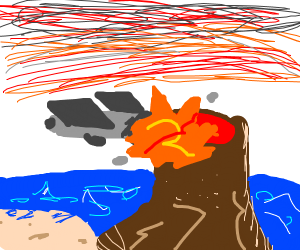 Some kind of plane crashes into a volcano