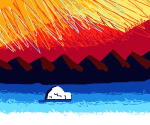 an igloo under northern lights