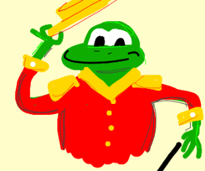 frog in a red sleeveless jacket