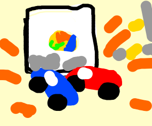 Toy cars crash on a marble ball painting