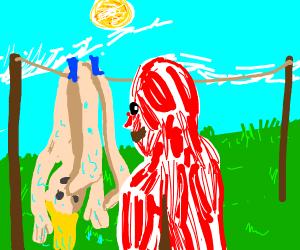 Human skin drying in the sun