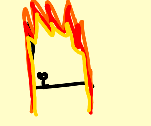 tiny man cooked on a burning chair