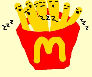 Mickey Ds fries sleeping