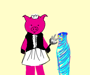 a pig maid cleaning a vase looking very sad