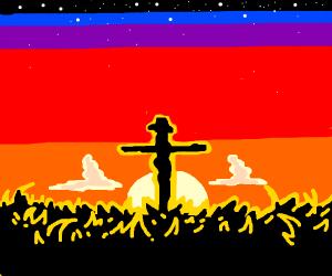 Scarecrow sunset