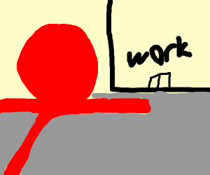 red man running to work