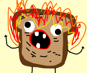 the toast is on fire