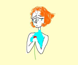 Pearl (S.U.) holding a rose