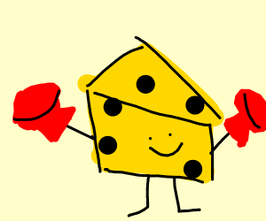 Cheese man wearing boxing gloves