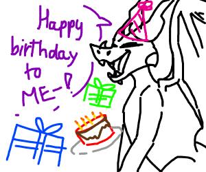 Dragon celebrating his/her birthday