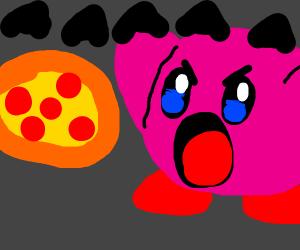 """Kirby yelling """"aaaaaa"""" at pizza"""