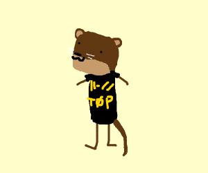 An otter wearing a twenty one pilots shirt