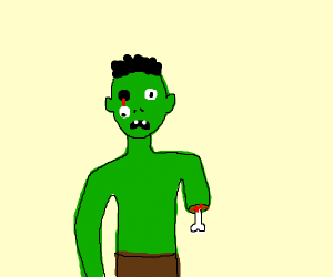 Zombie with hanging eye and cut off arm